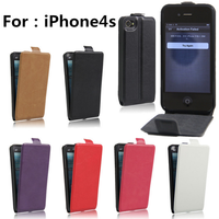 Vertical PU Leather Magnetic Flip Case Cover for iphone 4s 4g Wallet Case