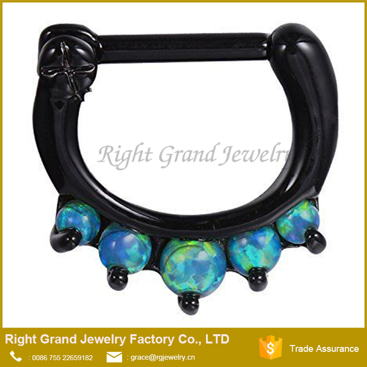 Black Plated Hinged Septum Clicker Hanger Daith Nose Ring Hoop Cartilage Synthetic Blue Opal