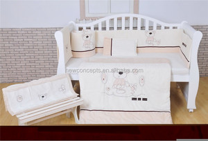 applique embroidery baby crib bedding set soft velour baby bedding nursery bedding Pumpkin & Popsicle