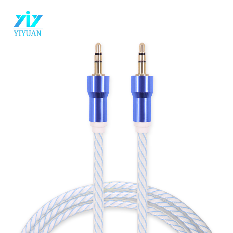 Aux cable 3.5mm colorful tpe braided fabric coated audio link cable