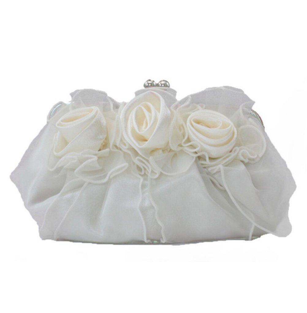Women Rose Pure Color Handbag Evening Bags Clutch Bag Wedding Party Handbags Cream