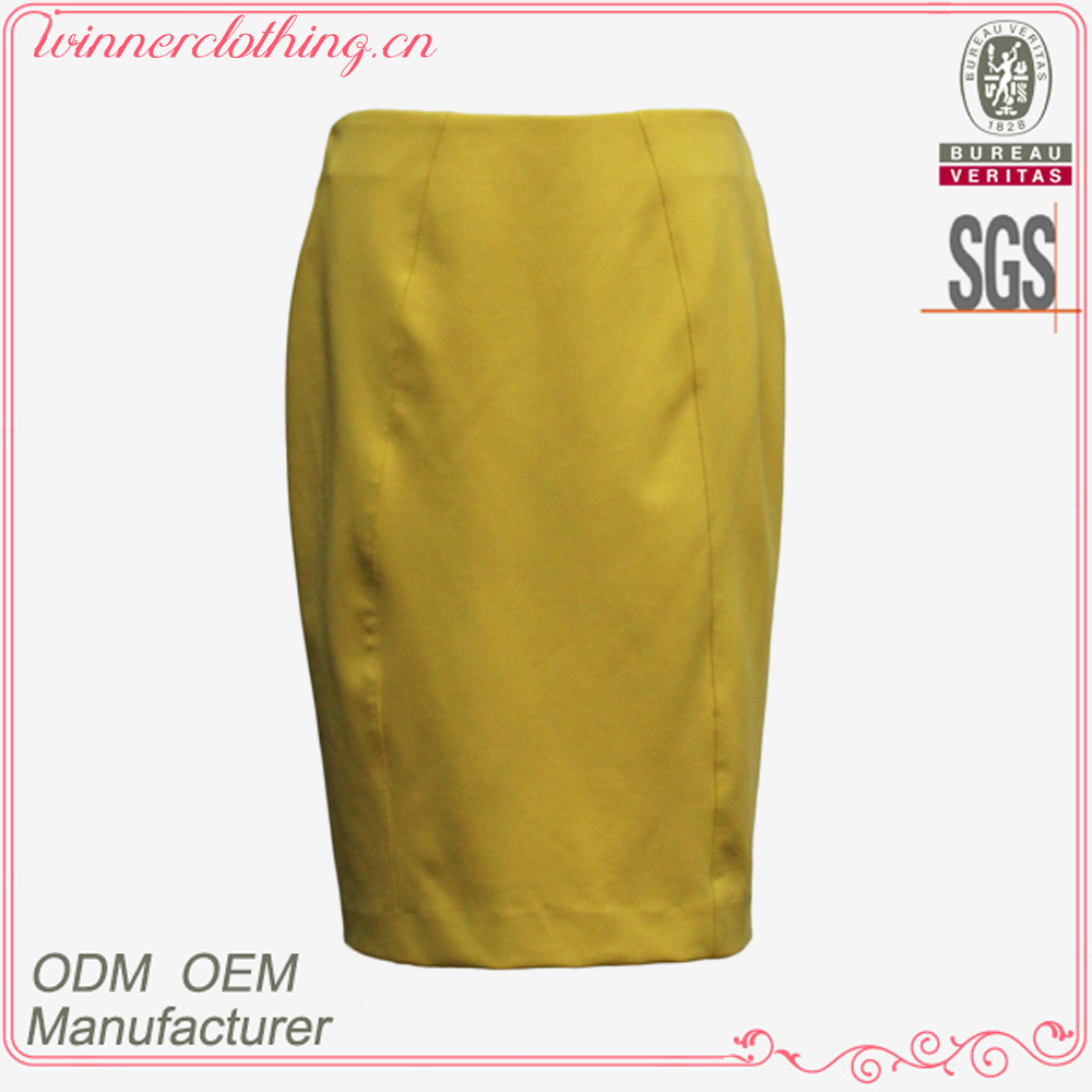 New style yellow pencil design women short skirts