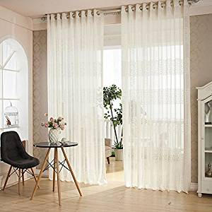 LQF Window Treatment Home Decor Elegant Comfortable Warp Voile Window Curtains Sheer Panel Drapes For Living Room , Grommet Top, 1 Panel , White , W54 by L63 inch