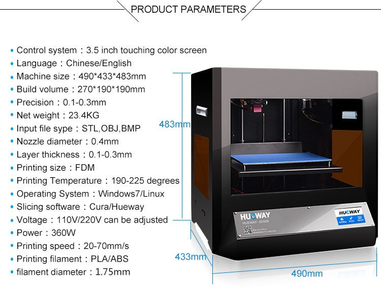 Hueway Manufacturer Easy Use 3.5 Inch Arduino LCD Screen Industrial China 3D Printer With Free PLA Filaments