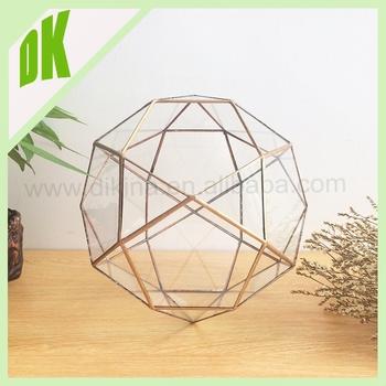 Well-liked Decorative Glass Orb Flower Vase Square Pedestal Base Geometric  JW39