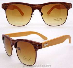 italian high quality sunglasses classic square metal half rimless frame handmade bamboo wood sunglasses polarized