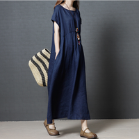 Xia new 2019 Korean version of loose large size women's fashion linen long-color dress