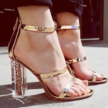 db993d0265c L2563A Comfortable fancy transparent chunky high heel women lady summer  sandals