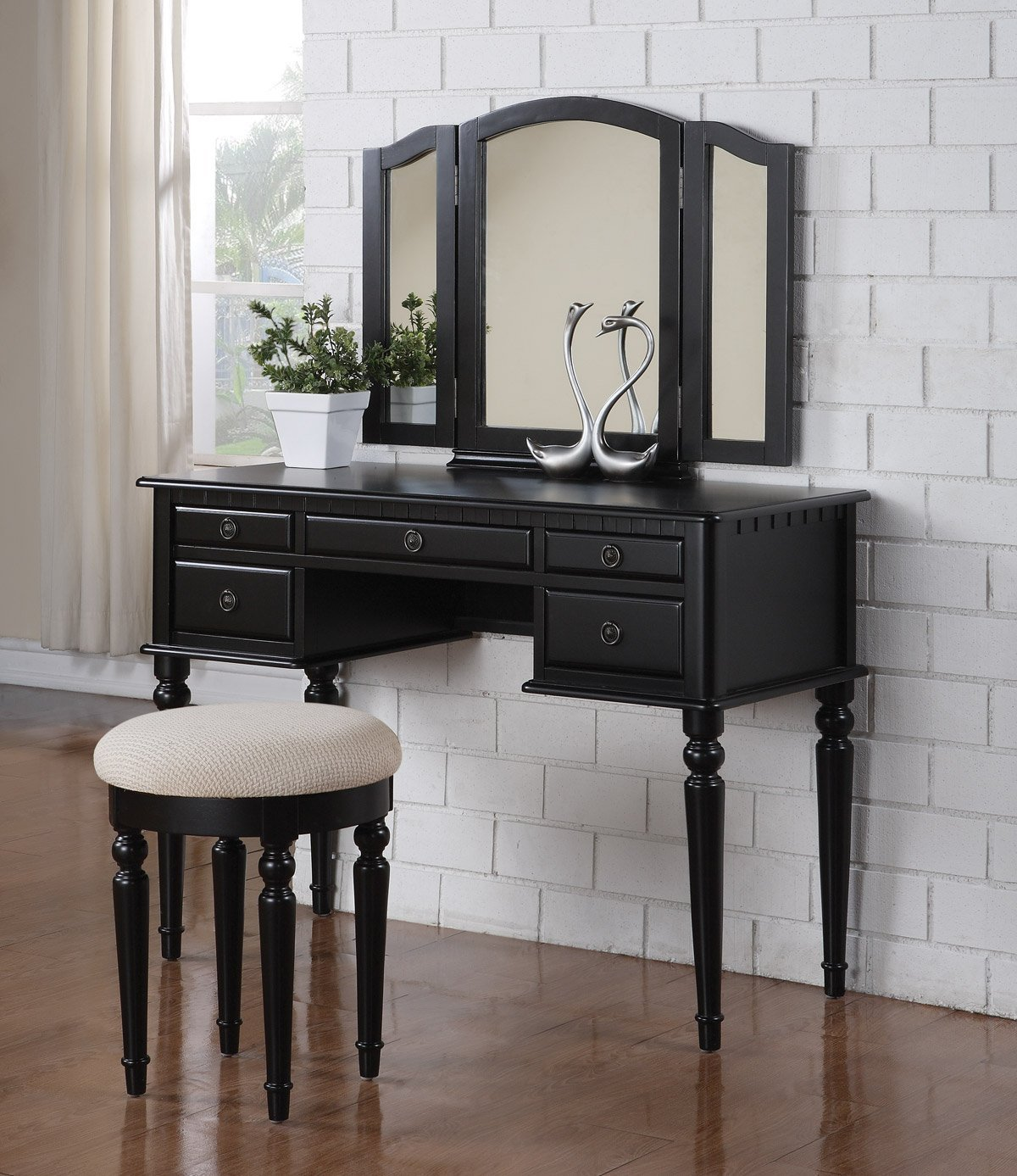 Black Vanity Table With Drawers.  3 Pc Makeup Vanity Set Table with 5 Drawers Stool and Mirror in Black Finish Cheap find
