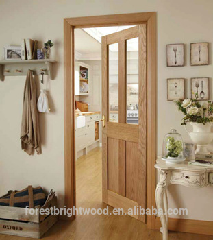 Living Room White Oak Wooden Door With Clear Tempered Glass - Buy ...