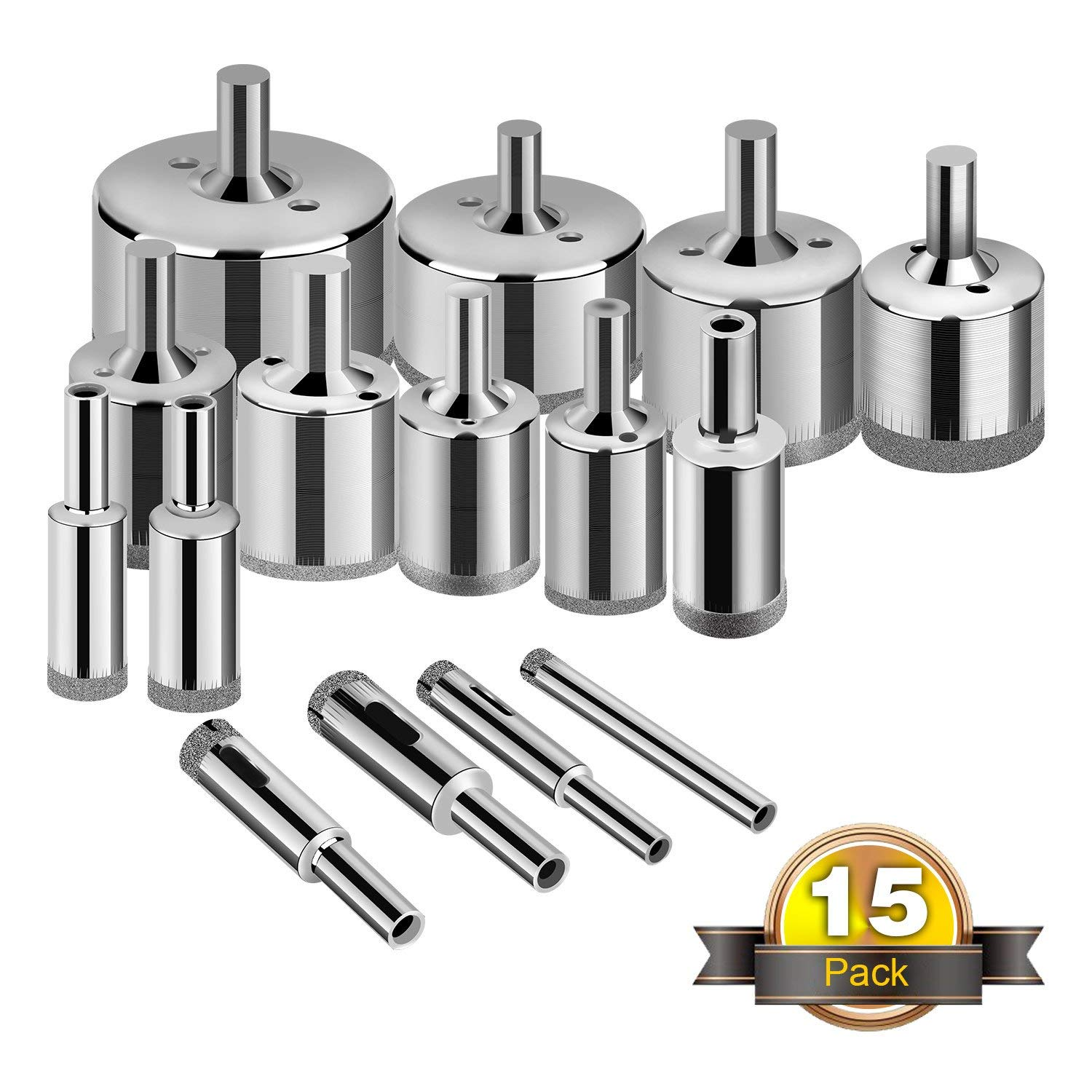Glass Drill Bits - 15pcs Diamond Coating Hole Saw Drill Bit for Glass, Ceramics, Porcelain, Ceramic Tile, Marble, Granite, 6-50mm Kit Set Hollow Core Extractor Remover Tool