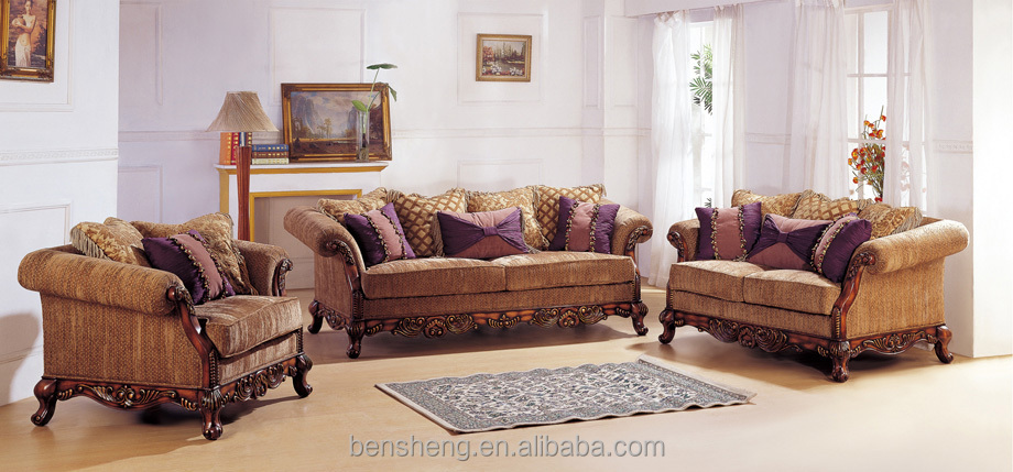 S2655 Foshan Shunde Furniture Factory Arabic Style Crafted Engraving Solid  Wood Frame Living Room Furniture Sofa Part 87