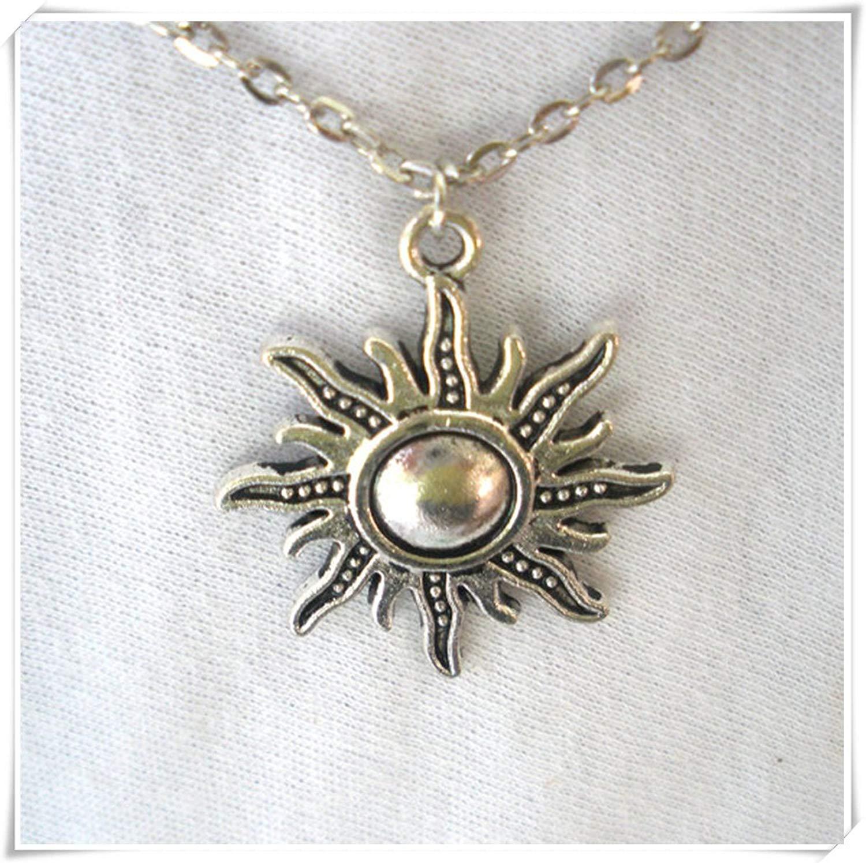 bb637c385 Get Quotations · Sun Charm Necklace/ Sun Charm/Sun Necklace/ Silver Sun  Necklace/