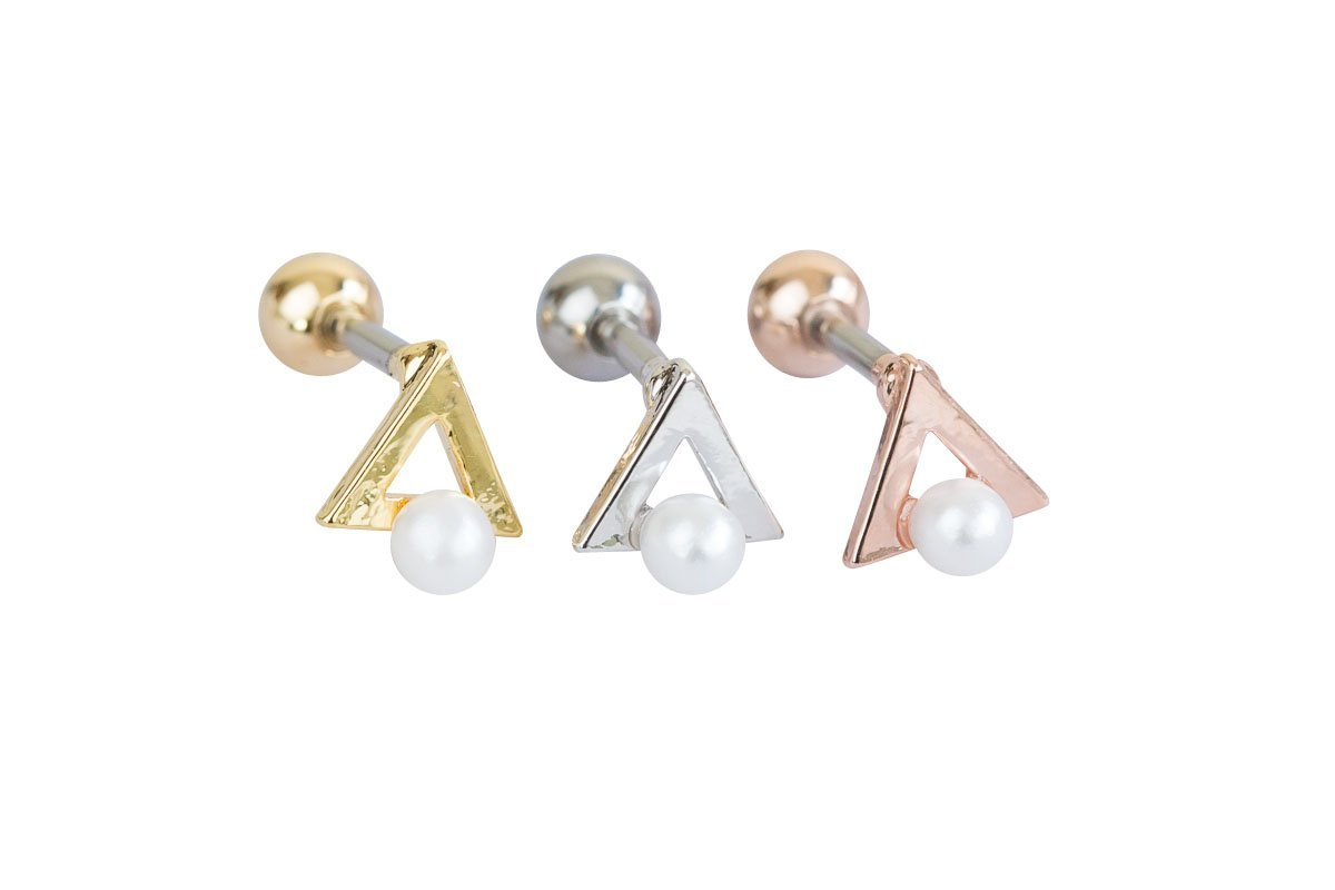 Pearl triangle piercing-ACP, pearl triangle jewelry, pearl triangle piercing, pearl triangle shape jewelry, pearl triangle shape piercing, pearl triangle jewellry, geometric jewelry,Barbells, Bod