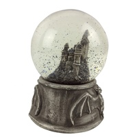 Custom Halloween theme antique building bat snow globe