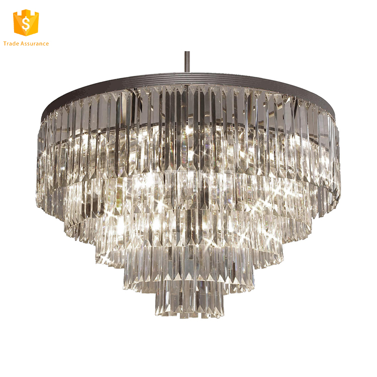 "Crystal 5-tier Chandeliers Lighting Black Finish H26"" X W31.5"" Flush Mount Pendant Fixture"