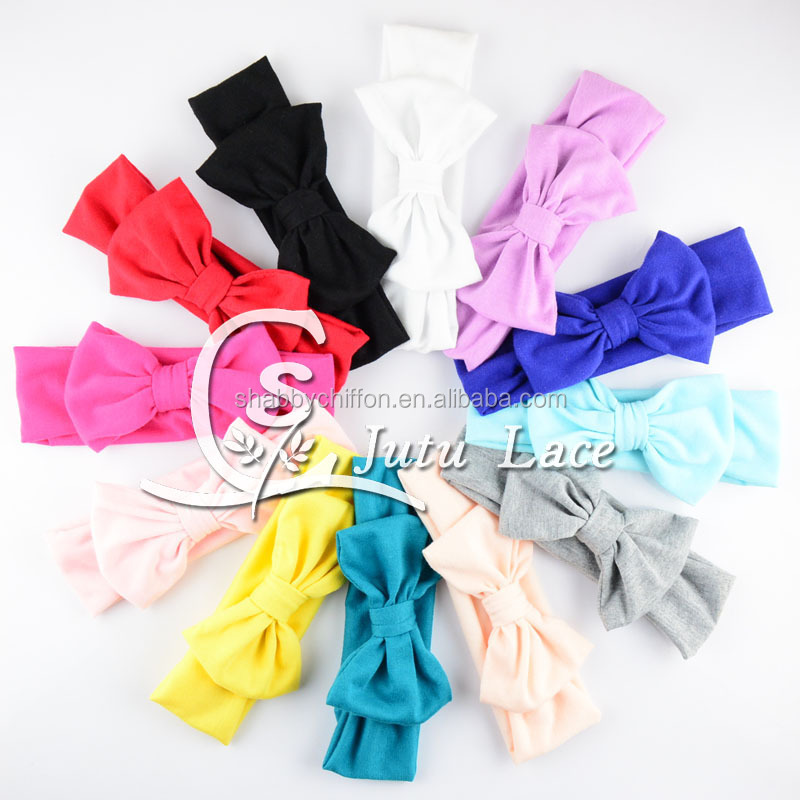 Handmade solid cotton fabric headband with big bowknot, baby messy bow tie elastic head wrap, baby good strength hair band