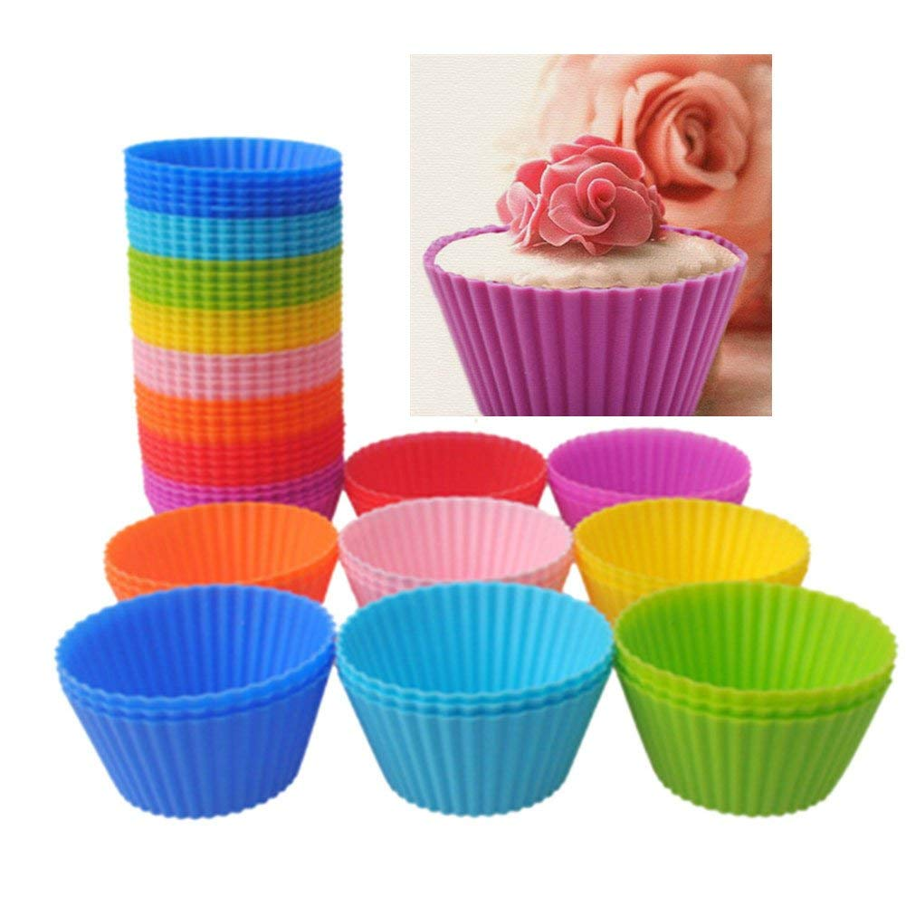 Baking Cups, Windspeed Silicone Cupcake Liners, Reusable & Nonstick Muffin Cups Cake Molds, 24 Pack (6 Colors)