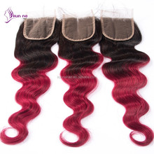 factory alibaba stock price human hair extension ombre T1b burgundy lace closure