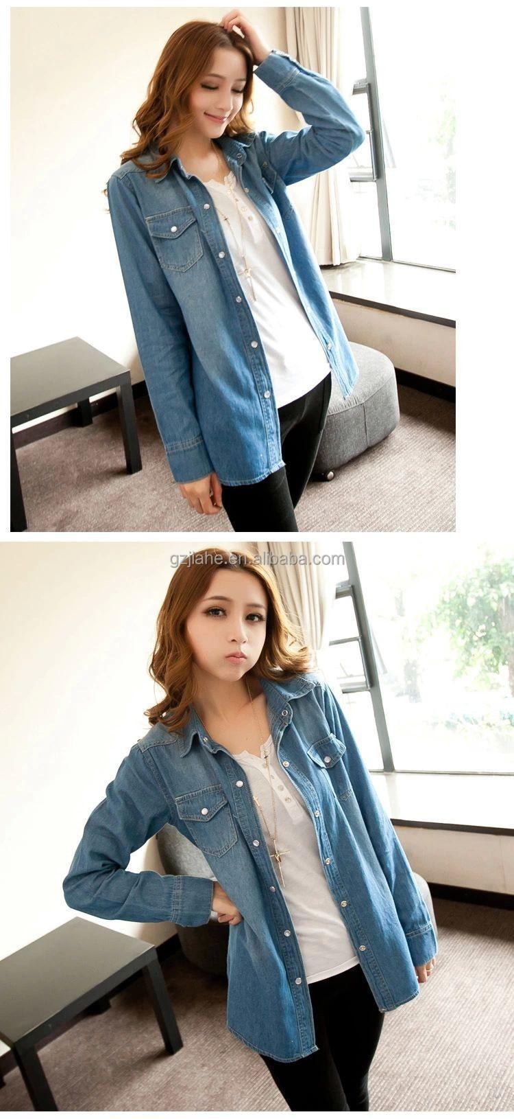 2fe01eb6e63 Plus size denim shirt women clothing nostalgic gradient jeans shirt vintage womens  camisa jeans blusas feminina