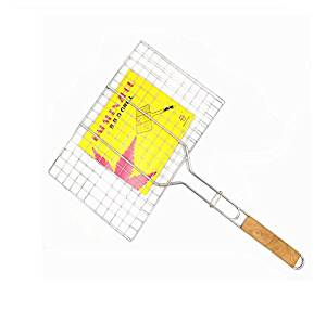Astra Gourmet Nonstick Fish Grilling Basket Folding for Roast BBQ Barbecue with Wood Handle