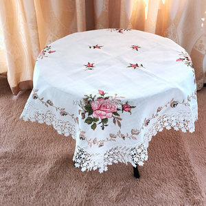 Cross Stitch Embroidered Rosette Table Cloth Pink Fancy Table Cloth factory