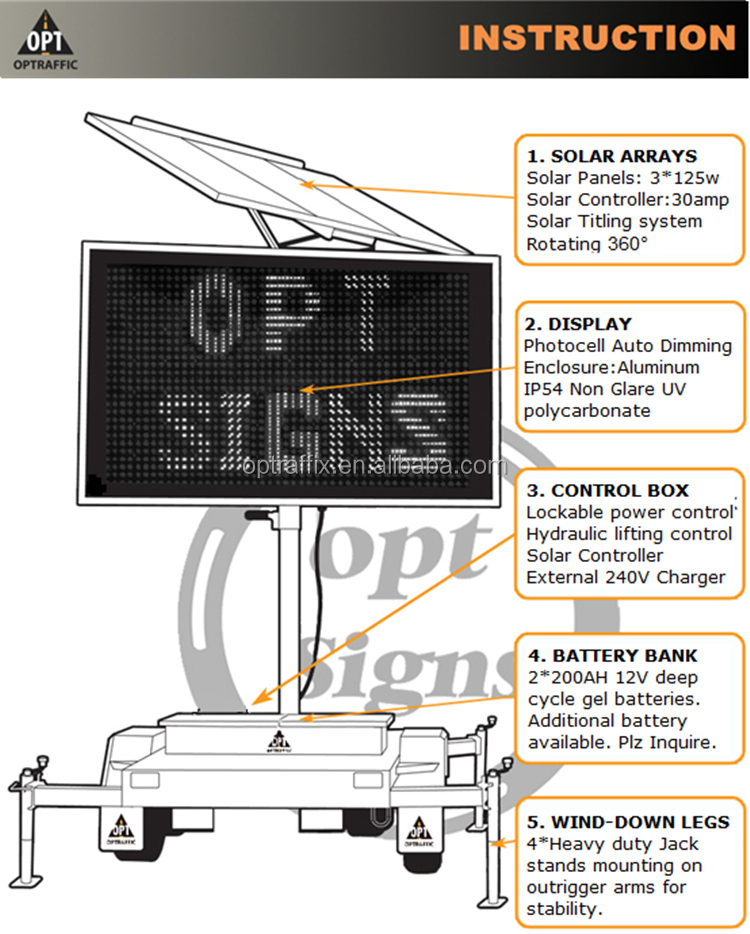Solar Powered Traffic Solar Led Message Board With A Size Amber ...