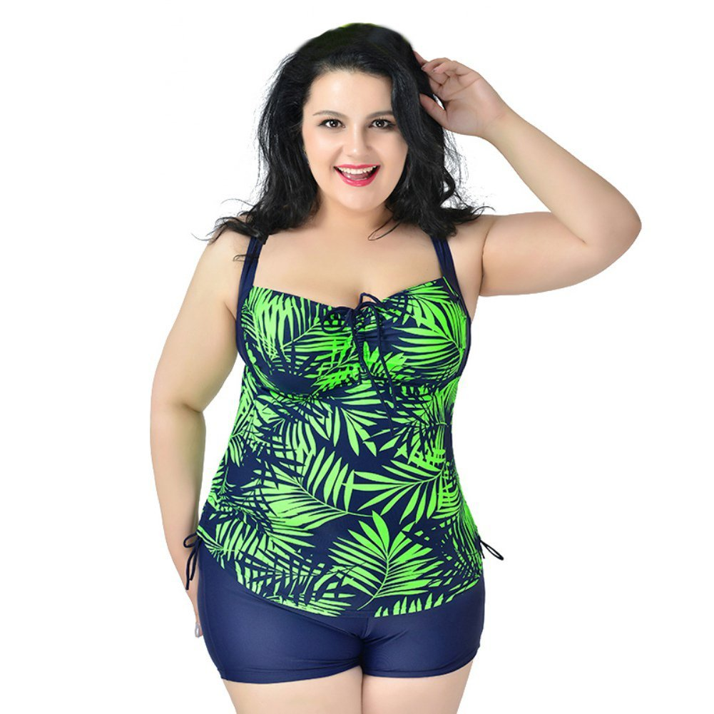 12fed04d3c6388 Get Quotations · KAYI Women Plus Size Floral Swimsuit Shorts Two-piece  Swimming Suit Bathing Suits Tankini Swimwear