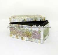 Mosaic Glass and Shell Casket Jewelry Boxes