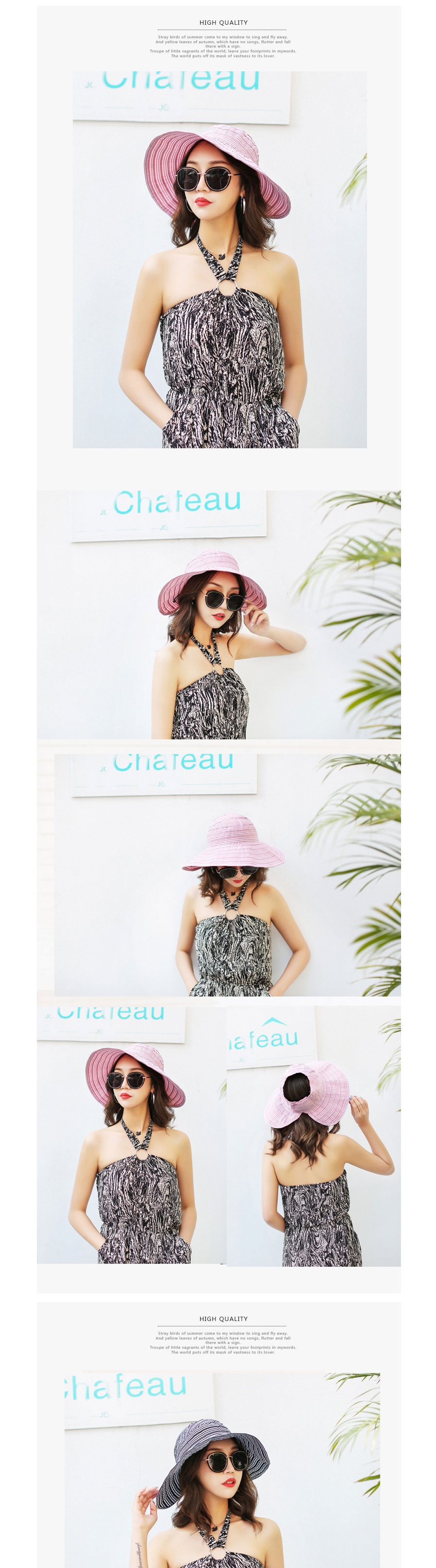 Summer Casual Womens Top Empty Hat, Stripe Folding Wide Brim Floppy Hat Sun  Hat For Beach Travel Black