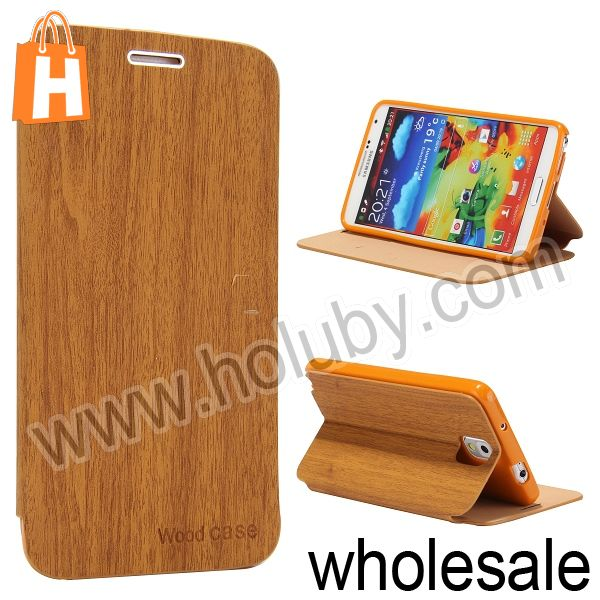 Wood Textured Flip Stand Cover Leather+TPU Case for Samsung Galaxy Note 3 N9000 N9002 N9005