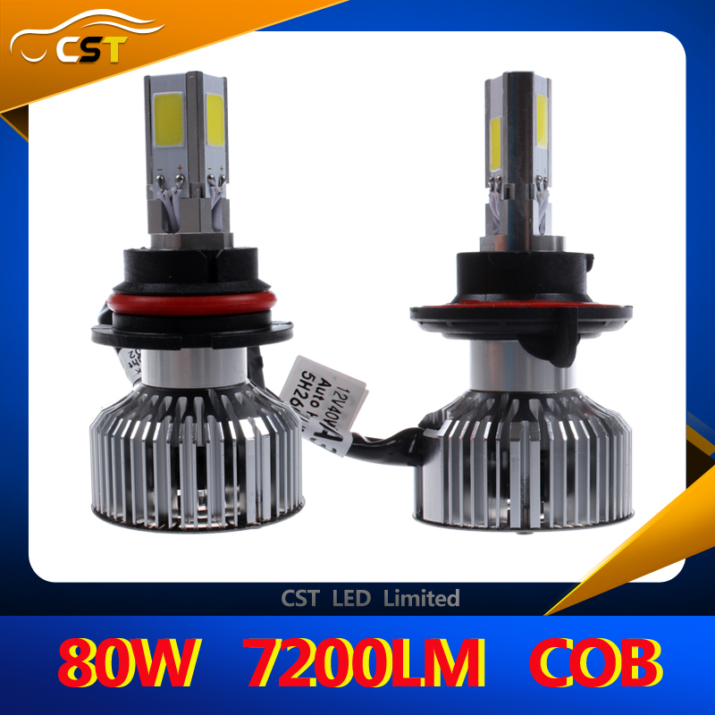 2016 New Design Waterproof Cob 3 Sides Emitting 7200lm 6000k Led Hb1 9004 80w Auto Headlight