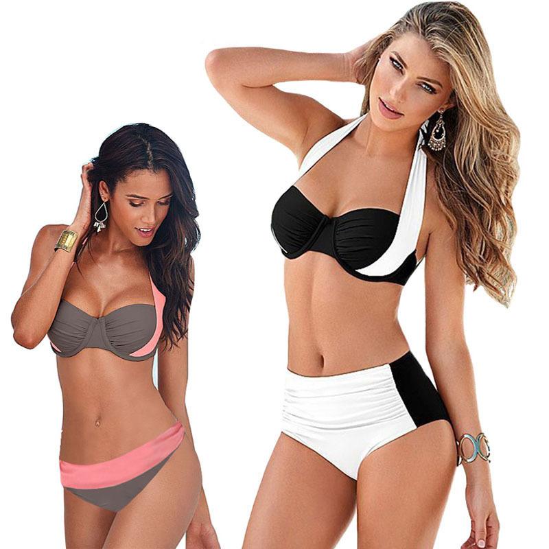 51906921ceb 2016 New Sexy Bikinis Women Swimsuit High Waisted Bathing Suits Swim Halter  Top Push Up Bikini Set Plus Size Swimwear