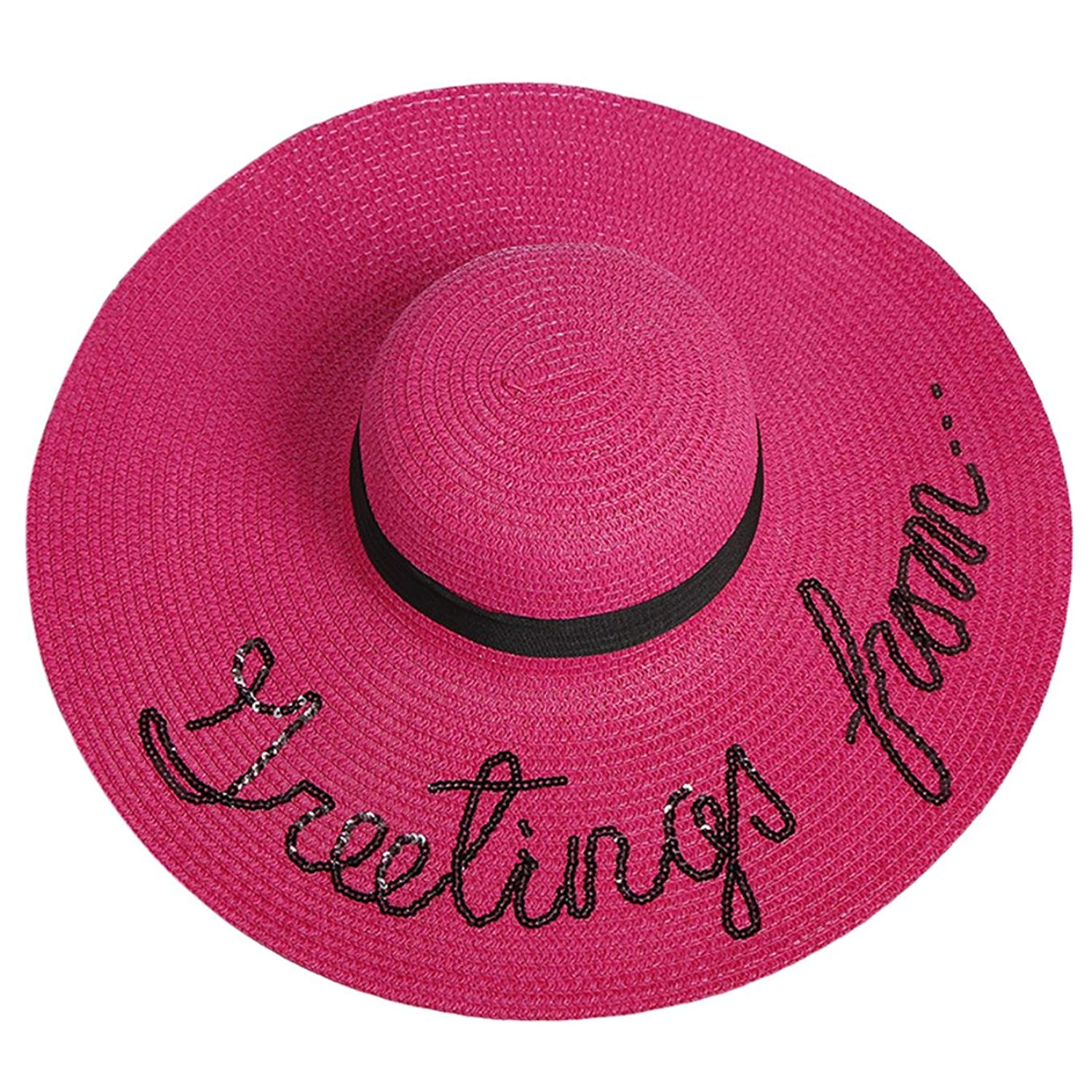 b08117af0e9 Get Quotations · Outdoor Letter Embroidery Cap Big Brim Ladies Summer Straw  Hat Youth Hats for Women Shade Sun