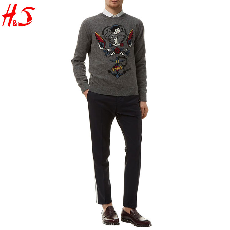 Best Selling Hot Chinese Products Plain Heather Grey Soft Slim Kniting Dress Fashion Men Sweater