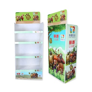 Leader Display retail store furniture display free standing corrugated carton cardboard paper display floor stand