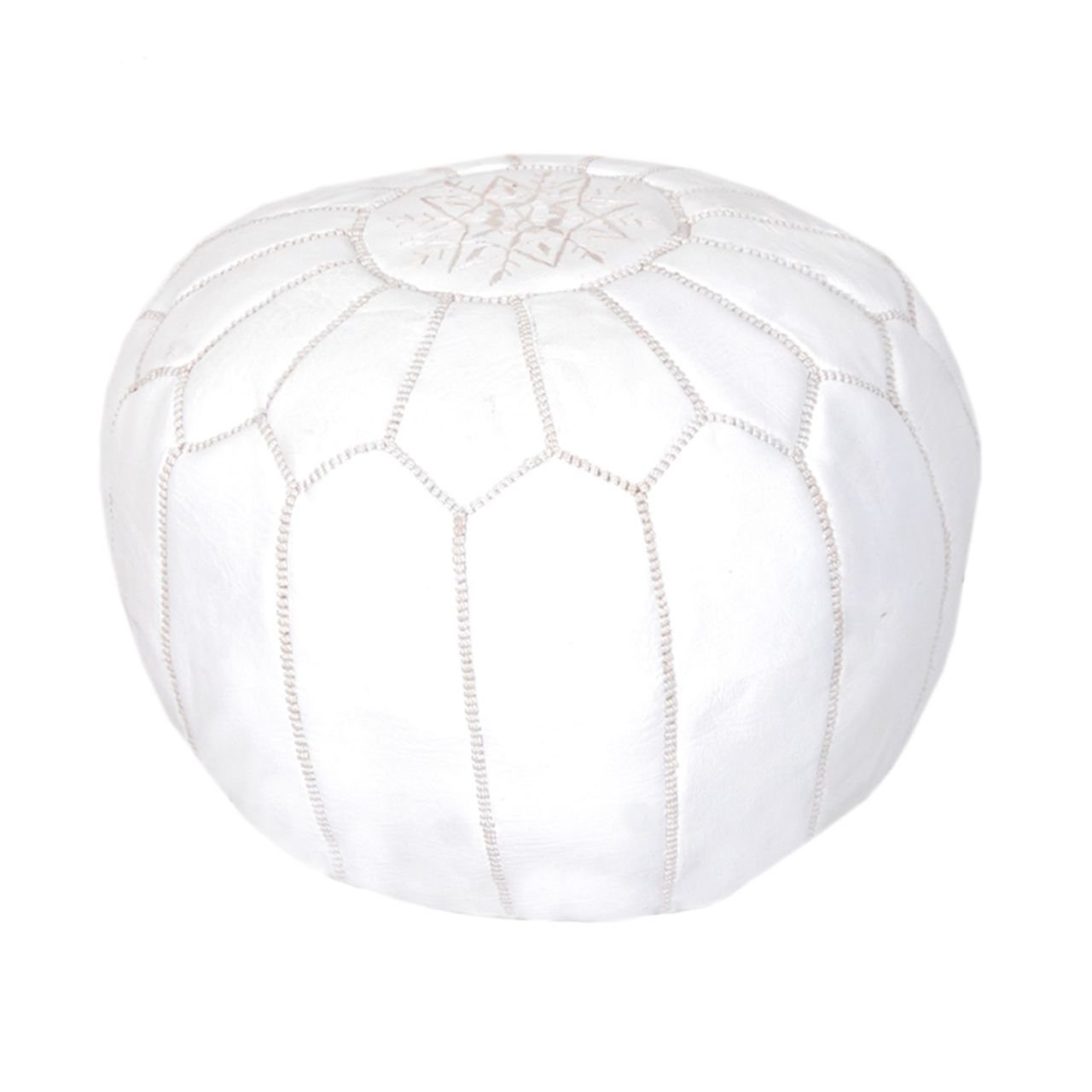 Moroccan Pouf Ottoman Footstool (Leather) Genuine Hand-Stitched Seating | Unstuffed | Living Room, Bedroom, Sitting Area | White | Exclusive Designs