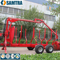 3T atv trailer transpoting logs and wood, log trailer with crane