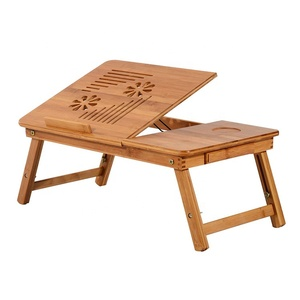 Bamboo wooden adjustable laptop table bed tray with tilting top drawer