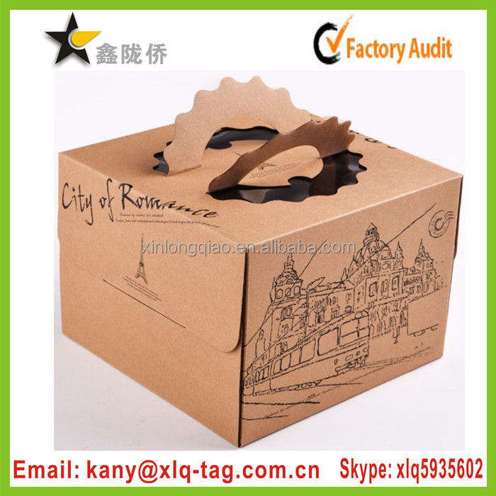 2015 food safe recycled paper custom wholesale bakery cake boxes