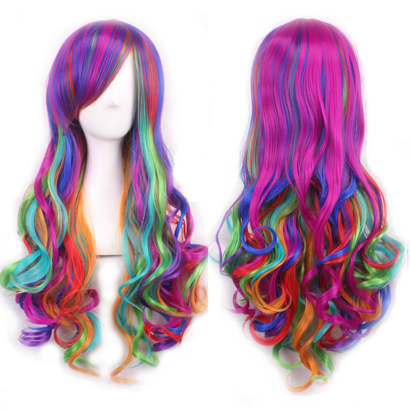 New Womens Harajuku Lolita Rainbow Long Curly Hair Ladies Multi-colored Full Wigs Cosplay Wig Party Hair Anime