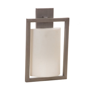 Modern Simple Interior Lighting Matte Pewter Wall Sconce With Linen Acrylic Shade