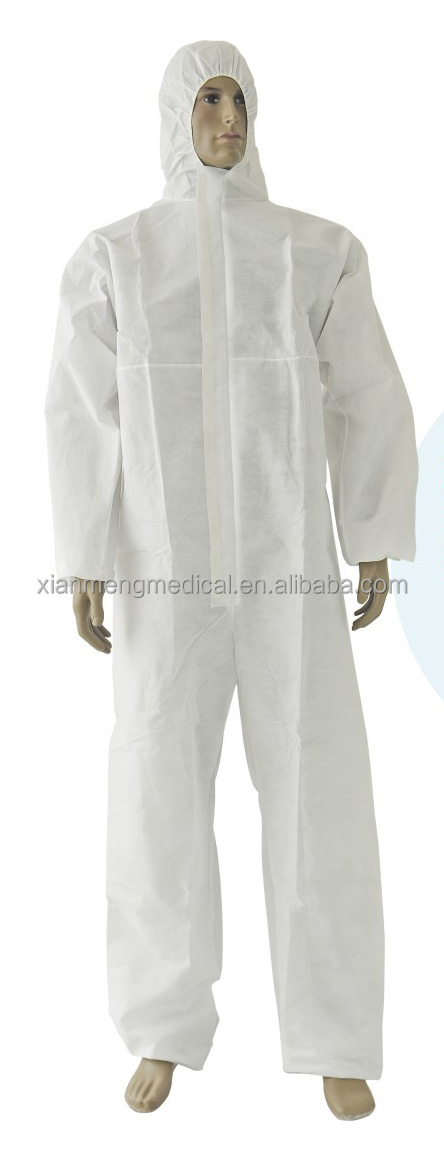 OEM high quality white microporus disposable waterproof coverall with hood