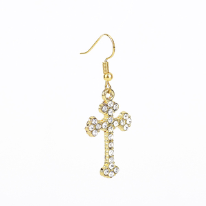 Yiwu jewelry European and American style inlay crystal cross earrings