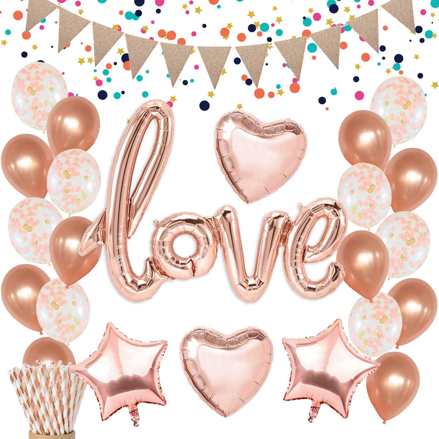7c72786e4600 Rose Gold Love Balloons Decorations - Confetti Balloons Glitter Pennant  Banner Heart Foil Balloons for Mothers