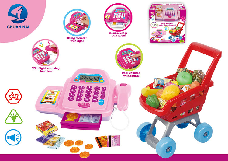 Children gift pretend toys supermarket toy set cash register with shopping cart