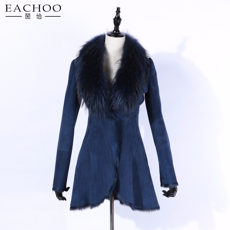 New arrival faux goat leather coat with faux raccoon fur collar
