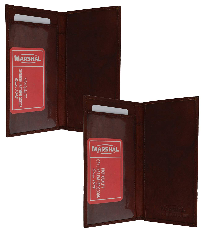 Marshal Checkbook Covers - Set of 2 - Genuine Leather (Burgundy-Burgundy)