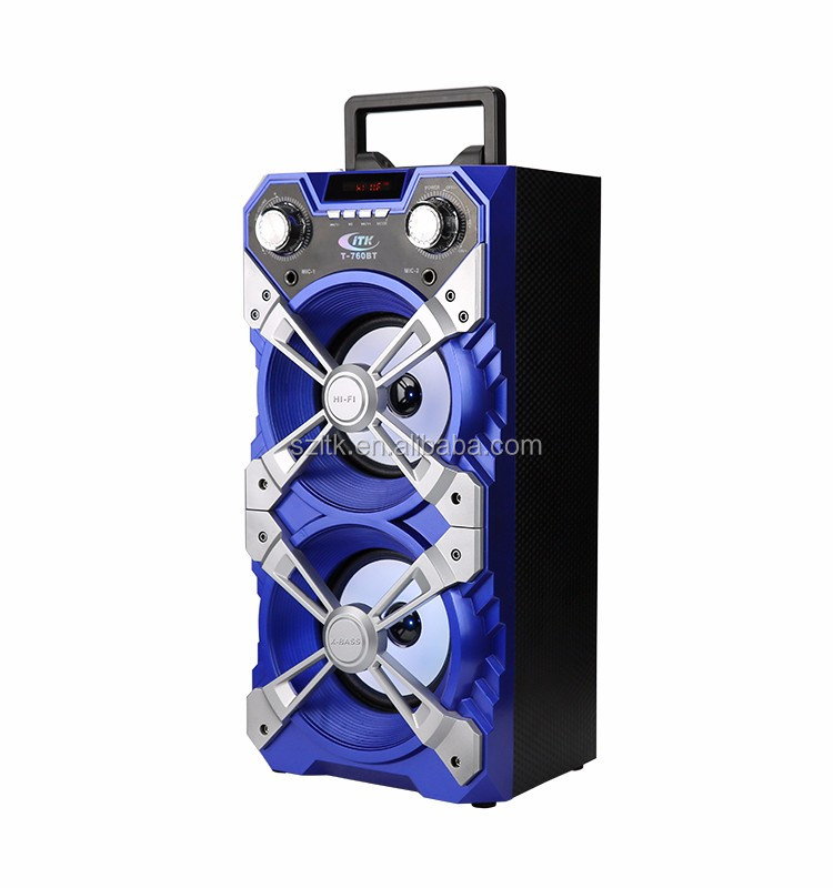 Terbaik Jual LED Lampu Tf Usb Fm Musik Audio Dual 18 Inch Pro Subwoofer Speaker Kotak Tahan Air FM Tower Speaker