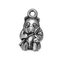 Lovely Style Animal Charm ,Cheap Antique Silver Chinese Panda And Bamboo Charm